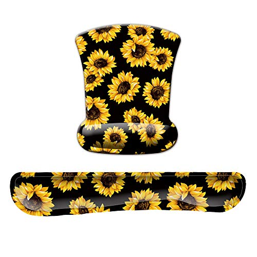 Summer Sunflower Mouse Pad with Wrist Support and Keyboard Support Gel Set for Men Women Kids Laptop Computer Office Home