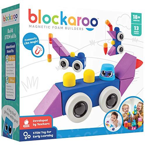 Blockaroo Magnetic Foam Building Blocks – STEM Preschool Toys for Babies, Toddlers, Boys and Girls, The Ultimate Bath Toy – Roadster Set
