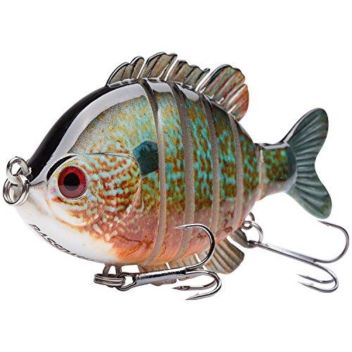 Bassdash SwimPanfish Multi Jointed Panfish Bluegill Swimbaits Topwater Hard Bass Fishing Crank Lure 3.5in/0.85oz (Longear Sunfish)