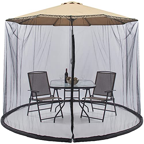 Best Choice Products 9ft Adjustable Bug Screen Accessory for Outdoor Patio Umbrella, Seating Cover w/Polyester Net, Zipper Door, Fillable Base