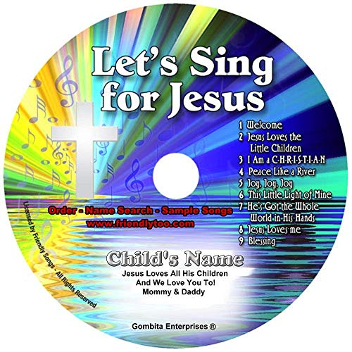 """Children Name Personalized Music CD - Friendly Songs Let's Sing for Jesus - Music CD and """"New"""" Digital Content is HERE! - -'Customize When Ordering' (Standard Name CD)"""
