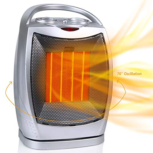 Oscillating Portable Ceramic Space Heater, 750/1500W Electric Heater with Thermostat Overheat Protection and Tip Over Protection, Personal Heater with Carrying Handle for Home Office