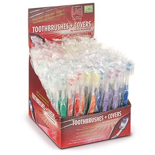 100 Bulk toothbrushes Individually wrapped Medium bristle full head Oral-care manual multi-pack toothbrush sets with hygienic antibacterial cap perfect for brushing kids teeth adults travel toiletries