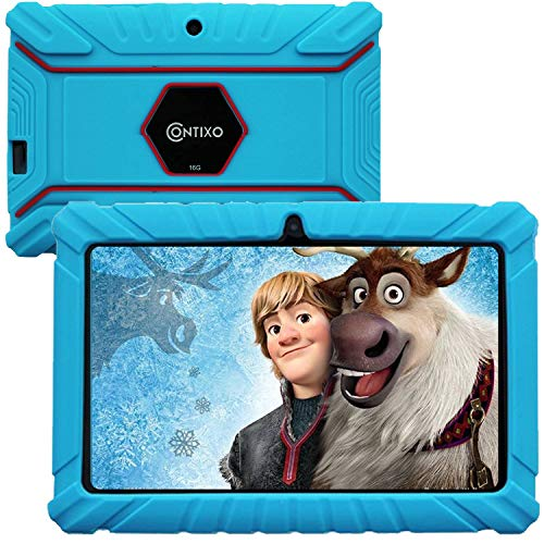 Contixo V8-2 7 inch Kids Tablets - Tablet for Kids with Parental Control - Android Tablet 16 GB HD Display Durable Case & Screen Protector WiFi Camera-Learning Toys, Blue