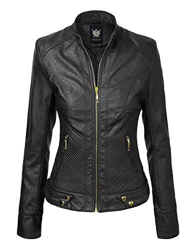 Lock and Love WJC747 Womens Dressy Vegan Leather Biker Jacket XS Black