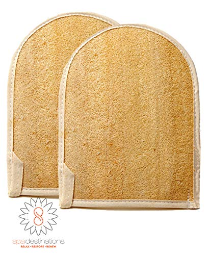 Natural Loofa Exfoliating Bath Mitt by Spa Destinations (Two (2) PACK)'Creating The In Home Spa Experience' 100% Satisfaction Guarantee! Great Value!