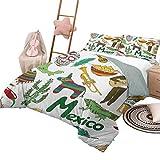 DayDayFun 3 Piece Bedding Sets Mexican Soft All-Season Cotton Blend Bedspread Fun Colorful Sketch Artful Mexico Chili Pyramid Nachos Cactus Music Poncho Pattern Full Size Multicolor