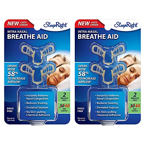 SleepRight Intra-Nasal Breathe Aids Breathing Aids for Sleep Nasal Dilator 30 Day - 2 Pack