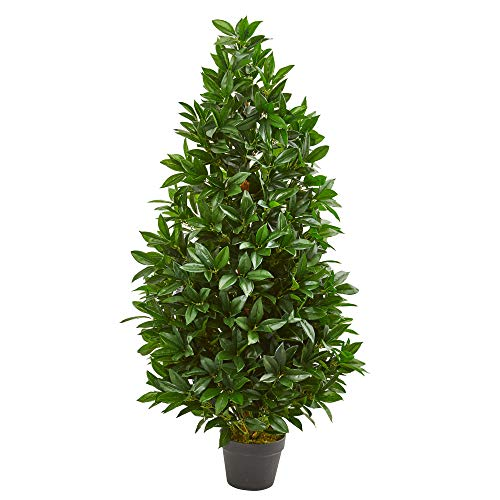 Nearly Natural 4-Ft. Bay Leaf Artificial Topiary UV Resistant (Indoor/Outdoor) Silk Trees, Green