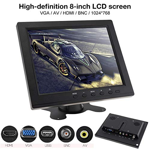 8 Inch LED Monitor HD TFT-LCD Color Monitor Mini TV Computer 2 Channel Video Input Security Monitor with Speaker VGA HDMI for Car