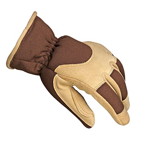 OZERO Winter Work Gloves Women Men 3M Thinsulate Deerskin Suede Leather Insulated Glove Thermal Fleece Keep Warm for Driving and Outdoor Working in Cold Weather (Brown,Large)