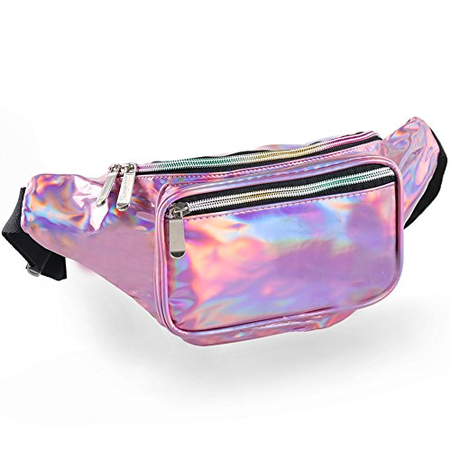 Pink Holographic Fanny Packs for Women - Metallic Waist Packs with Adjustable Belt for Men, Waterproof Waist Bags for Running Hiking Travel Cycling