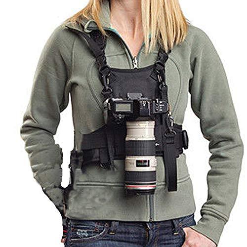 Nicama Camera Strap Carrier Chest Harness Vest with Mounting Hubs & Backup Safety Straps for Hiking Canon 6D 5D2 5D3 Nikon D800 D810 Sony A7S A7R A7S2 Sigma Olympus DSLR Cameras