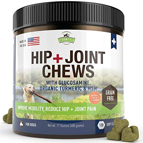 Strawfield Pets Glucosamine for Dogs - Chondroitin, MSM, Turmeric -120 Grain Free Soft Chew Treats - Hip and Joint Support Supplement for Dog Arthritis Pain Relief, Dysplasia, USA