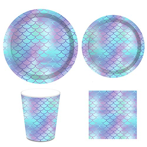 Mermaid Ocean Party Supplies Pack Serving 16 Guests, Including Dinner Plates, Luncheon Napkins and Cups Supply Tableware Set Kit for Under the Sea Theme Baby Shower Birthday Party Decorations Favors