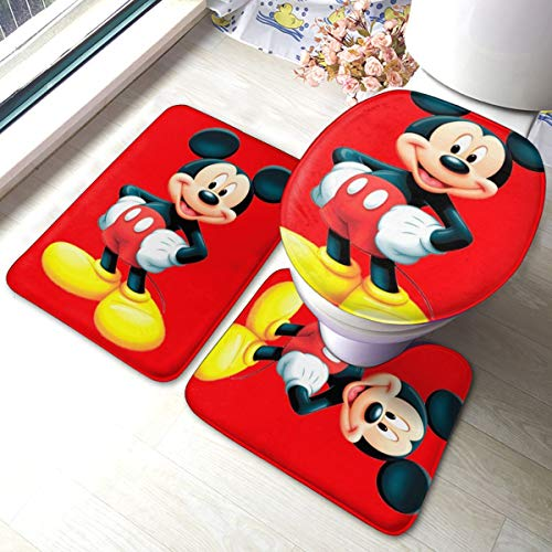 Heavenly Battle Mickey Mouse Bath Mat 3 Piece Set,Bathroom Carpet Set Bath and Absorbent Bath and Mat Pads Sets Anti-Skid Pads Bath Mats + Contour Pads + Toilet Lid