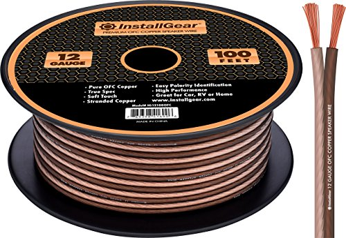 InstallGear 12 Gauge AWG 100ft Speaker Wire 99.9% Oxygen-Free Copper True Spec and Soft Touch Cable - Brown