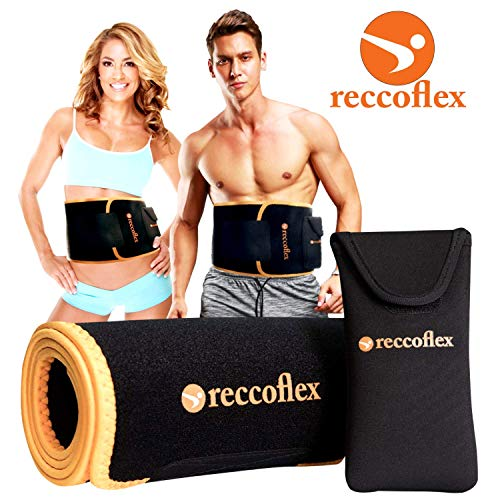 Reccoflex Sweat Belt and Waist Trainer for Women and Men | Waist Trimmer Sauna Belt Fat Burner and Stomach Wraps | The Ideal Waist Shaper Band for Abs Workouts to Increase Sweating