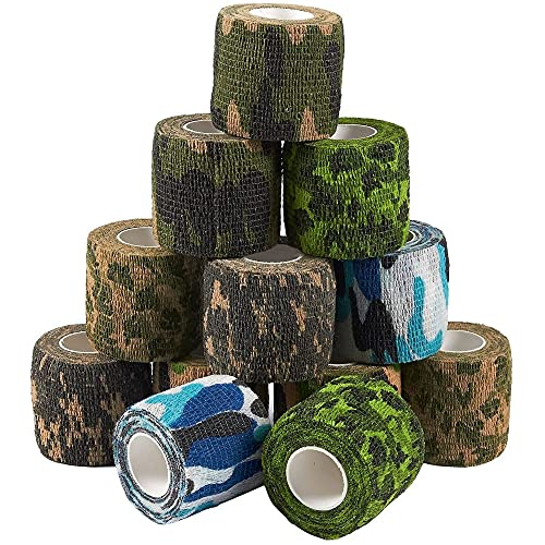 12 Pack Self Adhesive Bandage Wrap, Camouflage Cohesive Tape (2 in x 5 Yards)
