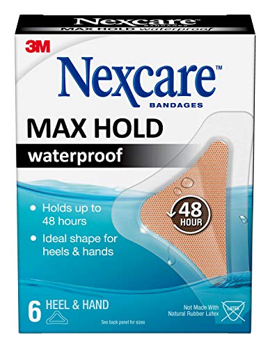 Nexcare Max Hold Waterproof Bandages, Clear, 6 ct Hand/Heel