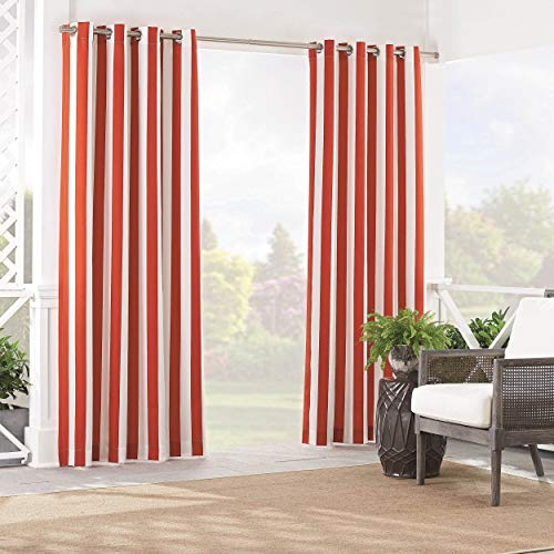 WAVERLY Sun n' Shade Indoor/Outdoor Curtains for Patio - Solstice Stripe 52' x 84' Thermal Insulated Single Panel Grommet Top Light Blocking Water Resistant Curtain Shade for Backyard, Chili