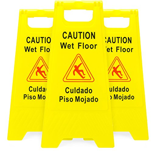 Bolthead Industrial 3-Pack of Yellow Caution Wet Floor Signs, Original Version 2-Sided Bilingual Warning - Slip & Fall Accident Prevention