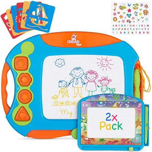 CHUCHIK Magnetic Drawing Board Set for Kids and Toddlers. Large 15.7 Inch Magna Doodle Writing Pad Comes with a 4-Color Travel Size Sketch Doodle Board. (Orange-Blue)