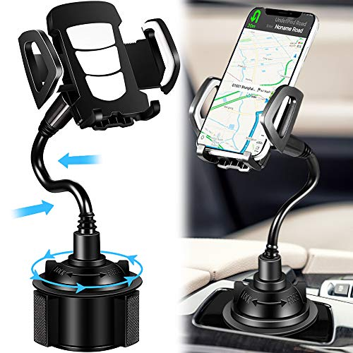 Car Cup Holder Phone Mount, Phone Holder for car 360 Degree Universal Adjustable Car Phone Mount Gooseneck Cup Holder Compatible for iPhone 11/XS Max/8/Plus/Galaxy/Huawei/All Smartphone