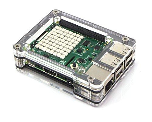 Zebra Short Top HAT Case for Raspberry Pi 2B, 3B, & 3B+ ~ Black Ice C4Labs
