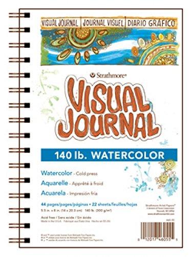 Strathmore 460-55 400 Series Visual Watercolor Journal, 140 LB Cold Press, 5.5'x8', 22 Sheets
