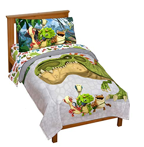 Jay Franco Gigantosaurus 4 Piece Toddler Bed Set – Bed Set Includes Toddler Size Comforter & Sheet Set - Bedding Features Dinosaur Rocky, Bill, Tiny, Mazu (Official Gigantosaurus Product)