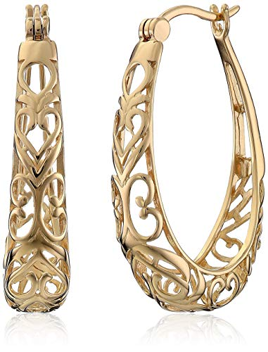 18k Yellow Gold Plated Sterling Silver Filigree Oval Hoop Earrings