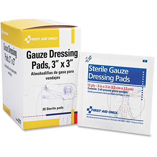 First Aid Only - I211 Gauze Dressing Pads, 10 Packs of 2 Gauzes, 20 Sterile Pads Total