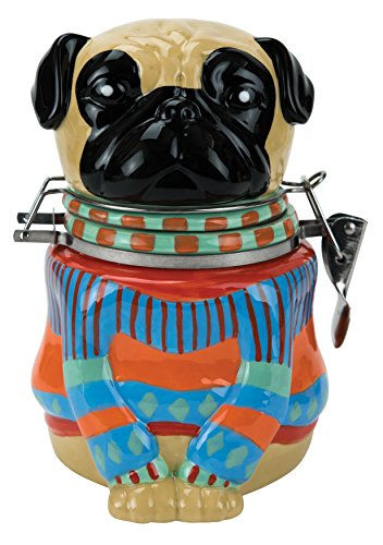 Hinged Jar, Pugly Sweater Collection, Hand-painted Earthenware Storage Container by Boston Warehouse