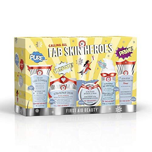 First Aid Beauty FAB Skin Heroes (5 Pieces): Pure Skin Face Cleanser, Ultra Repair Cream, Ultra Repair Intensive Lip Balm, Ultra Repair Face Moisturizer & Ultra Repair Hyaluronic Hydrating Primer