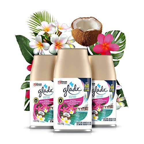 Glade Automatic Spray Refill, Air Freshener for Home and Bathroom, Exotic Tropical Blossoms, 6.2 Oz, 3 Count