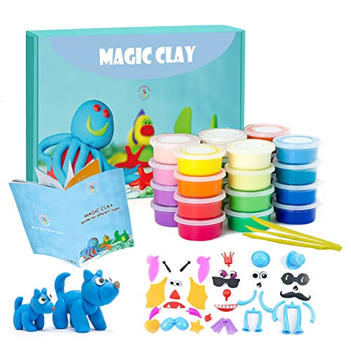 Modeling Clay Kit - 24 Colors Air Dry Ultra Light Magic Clay, Soft & Stretchy DIY Molding Clay with Tools, Animal Accessories, Easy Storage Box Kids Art Crafts Gift for Boys & Girls Age 3-12 year olds