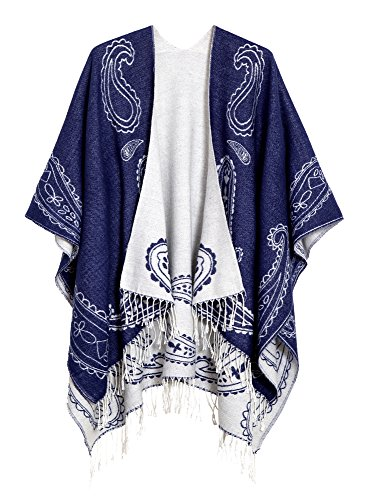 Urban CoCo Women's Printed Tassel Open front Poncho Cape Cardigan Wrap Shawl (Series 6-Royal Blue)