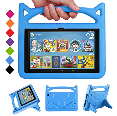 Fire HD 8 Kids Case 2020 ,Fire HD 8 Plus Tablet Case-SHREBORN Kid-Proof [Kids Friendly] Case with Stand Handle for All-New Amazon Kindle Fire HD 8 Tablet(10th Generation, 2020 Release ONLY)(Blue)