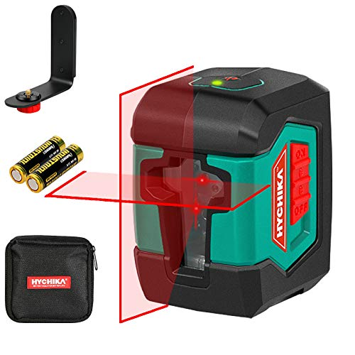 Laser Level, HYCHIKA 50 Feet Cross Line Laser with Dual Modules, Switchable Self-Leveling Vertical and Horizontal Line Construction Picture Hanging,Carrying Pouch, Battery Included