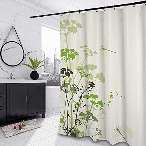Country Shower Stall Curtain 72' W x 72' L, Minimalist Foliage and Herbs Illustration with Dragonflies Winged Insects Mystic Animal Heavyweight Fabric Bathroom Curtain, Green Beige