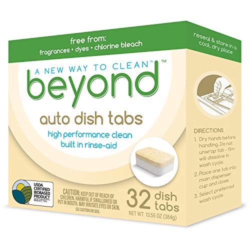 Beyond Natural Auto Dishwasher Tablets - Zero Plastic Waste. USDA Certified Biobased - Fragrance & Dye Free (1 Box of 32)