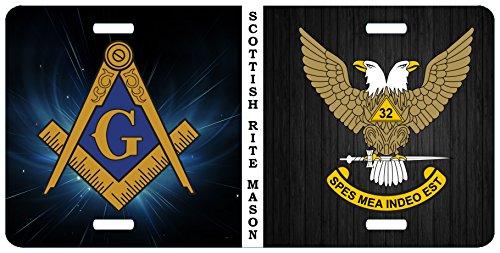 357 Designs Mason Scottish Rite 32nd Degree Wings Up Split Masonic License Plate Car Tag