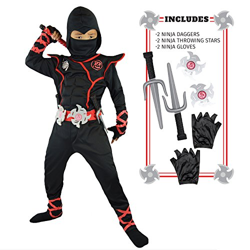 Spooktacular Creations Boys Ninja Deluxe Costume for Kids (Toddler 3-4) Black/Red
