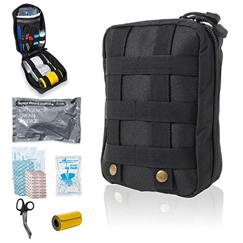 Delta Provision Co. Tactical First Aid Kit - IFAK - Survival Trauma Medical Kit with Israeli Bandage and Splint - Military, Wilderness, Emergency, Home, Car, Truck - Fully Stocked Medic Kits