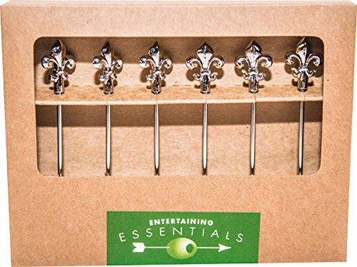 Cork Pops Stainless Steel Cocktail Picks With Fleur De Lis Motif (Set of 6), Silver