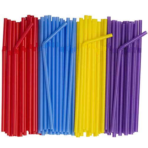 [500 Pack] Flexible Disposable Plastic Drinking Straws - Assorted Colors