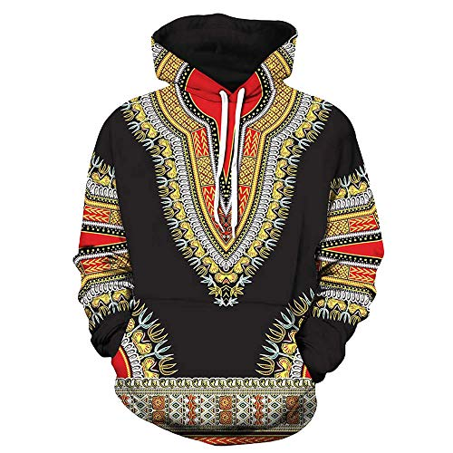 WOCACHI Mens Hoodies 3D African Boho Pullover Unisex Hooded Couples Sweatshirt Deal Autumn Winter Warm Tops Blouses Shirts Black