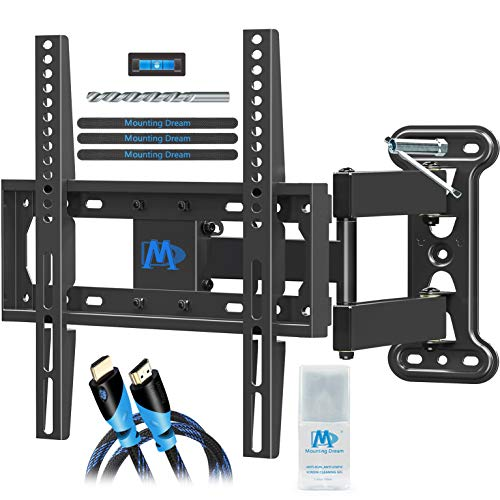 Mounting Dream Full Motion TV Mount for 26-55 Inches TVs, TV Bracket Kit Includes Socket Wrench & HDMI Cables, TV Wall Mount Bracket up to VESA 400x400mm and 60lbs loading, MD2377-KT