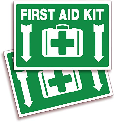 First Aid Kit Sticker Sign for Home, Schools & Business – 2 Pack 10x7 Inch – Premium Self-Adhesive Vinyl, Laminated for Ultimate UV, Weather, Scratch, Water and Fade Resistance, Indoor & Outdoor